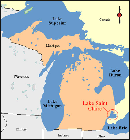 Map of Zebra Mussel in Lake Saint Claire